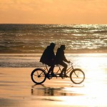 Tandem bicycle on the beach
